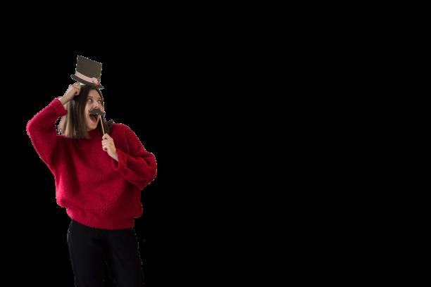 Osoba pozująca do zdjęcia fotobudki retro